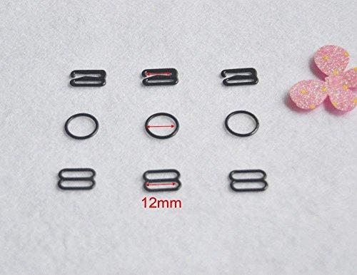 t Nylon beschichtetes Metall Dessous Anpassung Band Folien Hardware Nähen Clips Schließe Haken für BH Strp schwarz Farbe 12mm ()