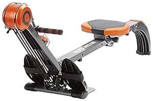 skandika Rudergerät Regatta Regatta Multi Gym Poseidon SF-1150, Geräusch-/Wartungsarmes Bremssystem über polyfiber Zugsystem, zusammenklappbar, Multifunktionstrainingscomputer, schwarz/orange