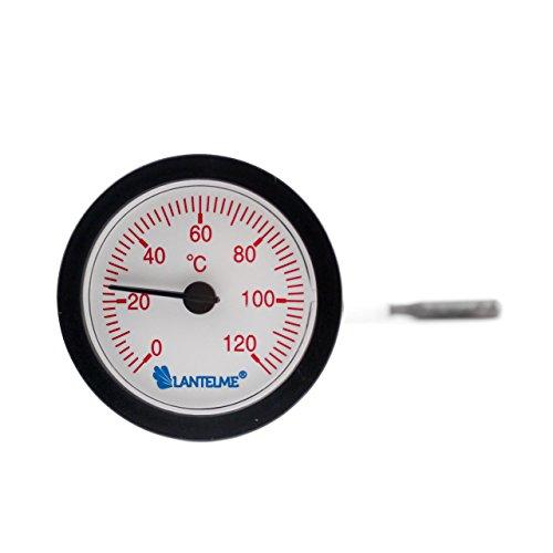 Lantelme 6751 Kapillarthermometer mit 1,55 Meter Fühlerlänge für Heizung - Kessel - Kaltwasser - Analog Thermometer mit Skala in rot