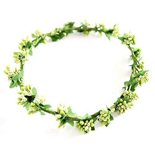 Liusdh Unechte Blumen,Mori-Mädchen-Foto-Porträt-Werkzeug-Frucht-Kranz(Green,ein Größe) -
