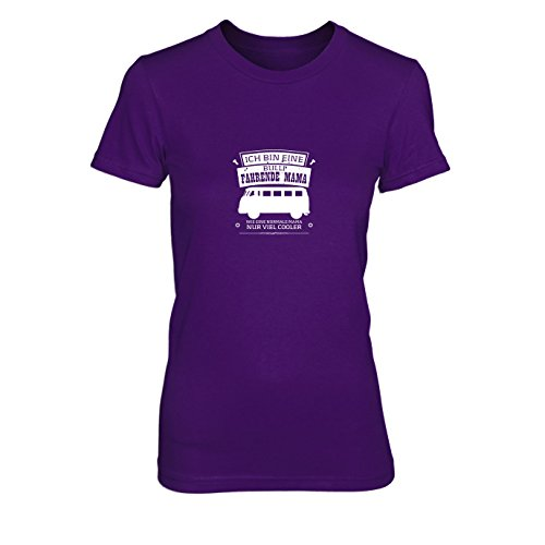 Ich bin eine Bulli fahrende Mama - Damen T-Shirt, Größe: S, Farbe: lila