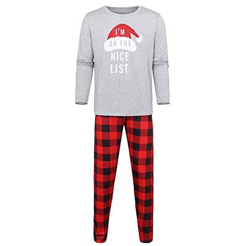d3dc0eee0b3d8 LHWY Pyjama Noël Famille Vêtements Hommes Famille Papa Chapeau De Noël  Lettre Imprimer Top Pantalon À