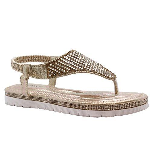 Saute Styles Chaussure Ouverte à LArrière Femme Gold Toe Post Comfy