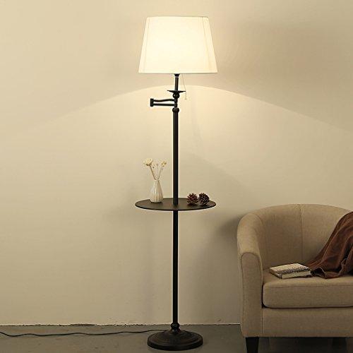 Best wishes shop stehlampe- American Simple Verstellbare Stehlampe mit Regal Schlafzimmer Bedside Study Leselampe Mit Tisch Sofa Stehlampe E27 ( Farbe : Weiß ) (Amerikanische Tische)