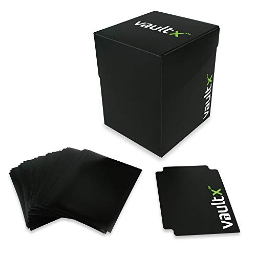 Vault X ® Large Deck Box and 150 Black Card Sleeves - Large Size for 100+ Sleeved Cards - PVC Free Card Holder for TCG, MTG, Pokemon, YuGiOh!, Star Realms, Star Wars X-Wing, WoW (Standard)