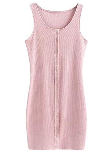 Azbro Women's Casual Solid Mini Bodycon Tank Dress pink