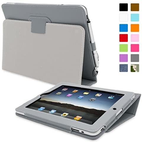 iPad 2 Case, Snugg - Grey Leather Smart Case Cover [Lifetime Guarantee] Apple iPad 2 Protective Flip Stand Cover with Auto Wake / Sleep