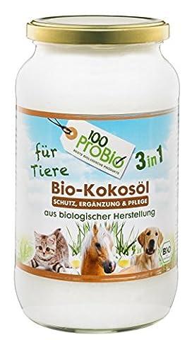 Kokosöl für Tiere 1000ml - ein natürlich wirksamer Schutz gegen Zecken, Milben, Parasiten & Fellpflege ohne