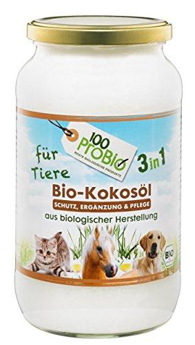 Kokosöl für Tiere 1000ml - ein natürlich wirksamer Schutz gegen Zecken, Milben, Parasiten & Fellpflege ohne Chemie (Hund, Katze od. Pferd)