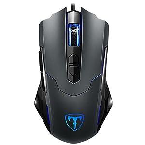 Holife Gaming Maus, Gamer 7200DPI PC Gaming Maus Hohe Pr?zision für Pro Gamer mit 7 programmierbaren Tasten/LED/ergonomisches Design/USB-Wired Maus optisch (Grau)