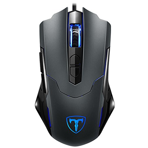 Holife Gaming Maus, [Neue Version] Gamer Maus 7200DPI PC Gaming Maus Hohe Präzision für Pro Gamer mit 7 programmierbaren Tasten/LED/ergonomisches Design/USB-Wired Maus Optisch (Grau) (Usb-2.0-standard-pc)