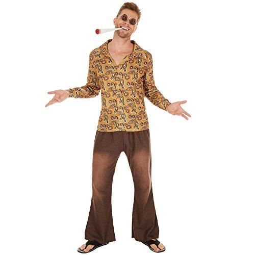 TecTake dressforfun Herrenkostüm Hippie John | Lässige Hose in Jeansoptik mit Gummizug | Bequem und karnevalstauglich | Cooles Hippie-Outfit (XXL | Nr. - Herren Kostüm Woodstock