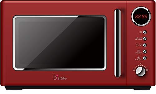 bkitchen cook 815 rot, Retro Mikrowelle, 700W,  20 Liter Garraum, 5 Leistungsstufen, Schnellstart & Auftaufunktion, Drehteller Ø 25,5cm