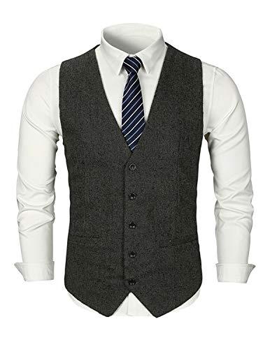 GHYUGR Gilet Costume Homme Tweed Rétro sans Manches Veste Business Mariage S-XXL