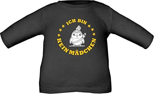 Baby / Kinder T-Shirt langarm Ich bin kein Mädchen / Größe 60 - 152 in 6 Farben Schwarz