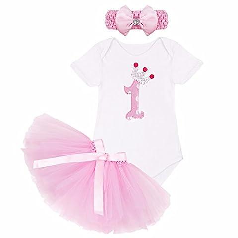 YiZYiF Baby Mädchen Kleidung Set 3 Stück Romper + Rock Tütü Pettiskirt + Stirnband 1. Geburtstag Geschenk Verkleidung (9-12 Monate, 1. Geburtstag + Rosa Rock) Gr. XL