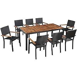 Festnight Salon de Jardin d'extérieur 1 Table et 8 chaises en Bois d'acacia Marron et Noir