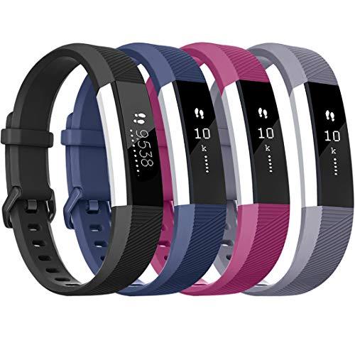 Tobfit für Fitbit Alta HR Armband, Verstellbare Ersatz Weich Sport Armband für Fitbit Alta HR und Fitbit Alta (Keine Uhr) (4-Pack Schwarz+Blau+Grau+Lila, S)