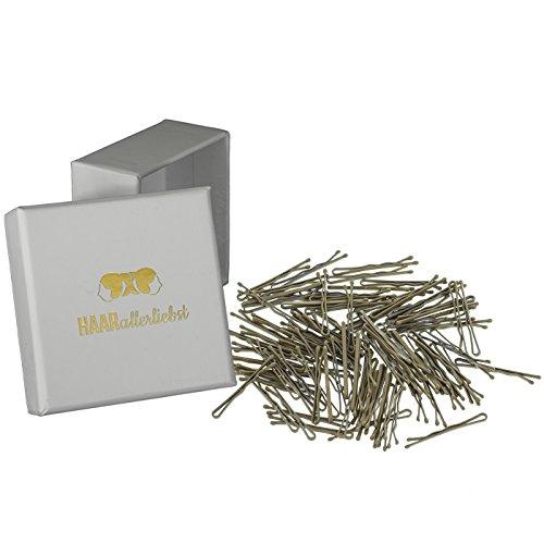 HAARallerliebst 100 Mini Haarklammern Haarnadeln Bobby Pins beige für Blonde Haare 3,4cm klein in Weisser Box