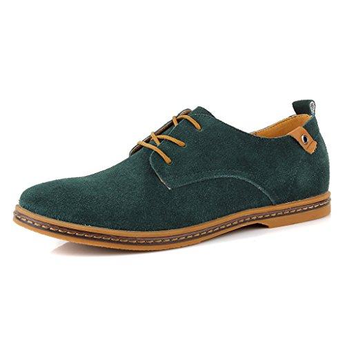 SIMPVALE Homme Chaussures de ville a Lacets Suede Oxfords Vert