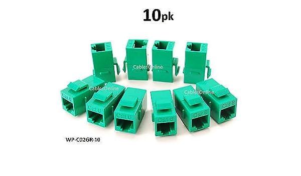 6-PACK CAT6 Female//Female RJ45 Ethernet Green Keystone Jack Coupler WP-C02GR