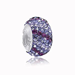 925 Sterling Silber Kristall Bead Lila / Violett mit Gewinde – European Beads Element für Armbänder / Ketten #1368