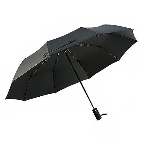 Parapluie, POOPHUNS Parapluie Pliant, Parapluie Automatique, 10 Baleines, Fibre De Verre Et Tissu 210T, Ouverture et Fermeture Automatiques, Poignée Ultra Confortable-Robuste, Anti Vent, Imperméable