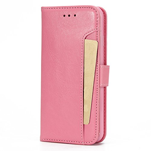 iPhone 7 Hülle Leder, E-Lush Premium PU Leder Tasche für iphone 7 8(4,7 Zoll), Einfach Einfarbig Muster Klapphülle 360 Full Body Protection Flip Case Wallet Cover Weiche Flexible TPU Soft Rückseite Ab Hell-Pink