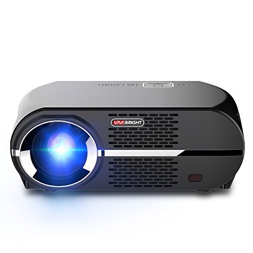 Vivibright GP100 Video Projektor, LCD 1080P Full-HD Beamer, 3500 LMS LED Helligkeit der Lichttausgabe, WXGA Auflösung erfüllt die Bedürfnisse von Unterhaltung,Spielen und Videos.