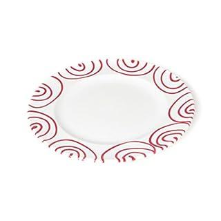 GMUNDNER KERAMIK Rotgeflammt Dessertteller Gourmet | Durchmesser : 22 cm | Rotgeflammt | Geschirr, handgemacht in Österreich