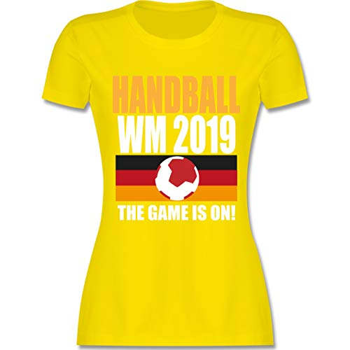 Handball WM 2019 - Handball WM 2019 The Game is on! - XXL - Lemon Gelb - L191 - Damen T-Shirt Rundhals