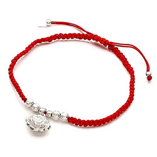 925Lunga vita serratura pendenti d'argento/ catena corda rossa/ tondo perle gioielli rosso corda
