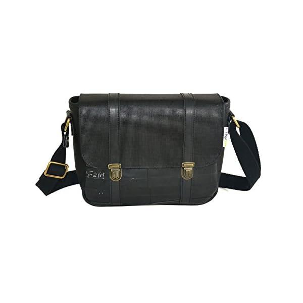 Handbag with strap; vegan leather and inner tube; eco-friendly cruelty free vegan - handmade-bags
