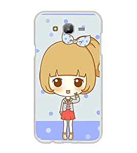Printvisa Animated Sweet Girl With A Bow On The Head Back Case Cover for Samsung Galaxy J7::Samsung Galaxy J7 J700F