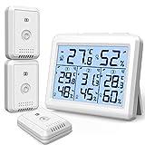 AMIR Digitale Termometro Igrometro per Interno Esterno, Misuratore di Temperatura e Umidità, Igrometro Digitale con 3 Sensori Wireless, Display LCD Retroilluminato