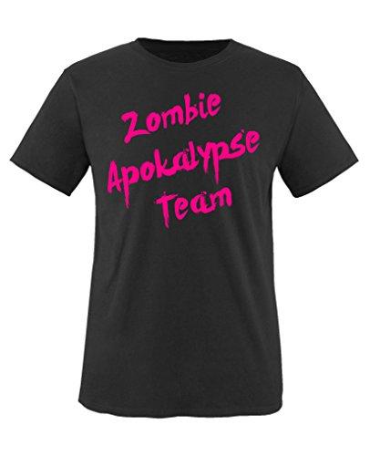 Comedy Shirts - Zombie Apokalypse Team - Mädchen T-Shirt - Schwarz/Pink Gr. 110-116