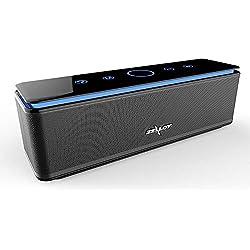 Enceinte Bluetooth Portable, Batterie Externe 10000mAh 26W 4 Haut-Parleurs 24 Heures d'Autonomie Subwoofer Basses Puissantes Contrôle Tactile AUX/Micro Carte SD/TF/Microphone-Noir