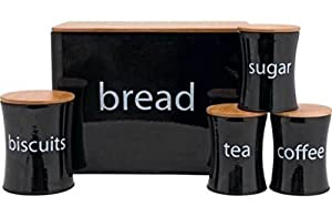 Set of 5 black tin kitchen storage jars, canisters. Bread, tea, coffee, sugar, biscuit