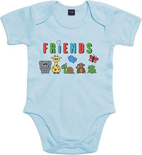WarmherzIch Baby Body Friends - Freunde Strampler liebevoll bedruckt Freundschaft Elefant Hellblau, 3-6