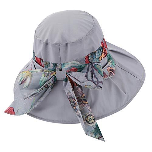 Yvelands Damen Visier Hut Sonnenhut Verstellbarer, hochqualitativer, Faltbarer, leerer Zylinder(Grau) (Seahawk Tom Schuhe)