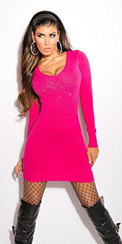 Koucla robe courte sexy en tricot avec strass koucla by in-stylefashion sKU 0000ISF8004 Rose - Fuchsia