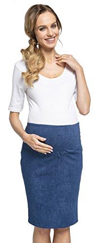 Happy Mama. Maternidad premama falda de tubo midi banda elástica embarazo. 523p (Jeans, EU 44, 2XL)