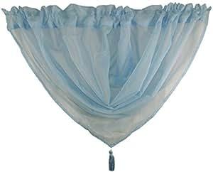 Rideau Voile Pomponne Guirlande Bleu Ciel