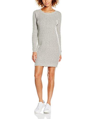 VERO MODA Damen Kleid Vmposh LS Dress Noos, Grau (Light Grey Melange Light Grey Melange), 38 (Herstellergröße: M)