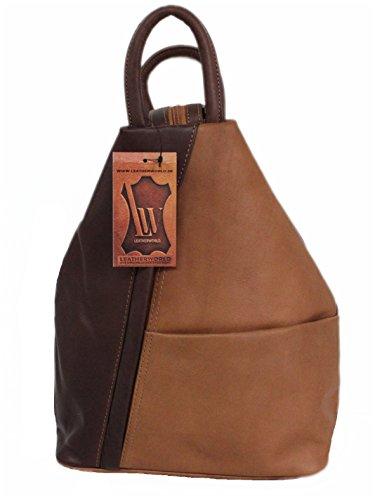 Italien Kleines Leder (Leatherworld Tasche Rucksack Schultertsche Backpack Leder 01493)