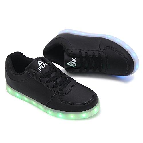 PEAK Sportschuhe Kinder USB Aufladen 7 Lichtfarbe LED Leuchtend Sport Schuhe Sneaker Schwarz