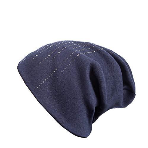 krempe strohhüte Damen strandhüte n strickmütze weiblich abschrägung Rand Strass hüte Frauen Kaschmir Schwerkraft fällt Cap Girl Marineblau