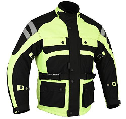 Infinity Bikers Gear - giacca in cordura ad alta visibilità, impermeabile da moto CE1621-1con antiproiettile rimovibile & ventilato, taglia 62,6XL