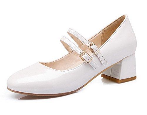VogueZone009 Femme Boucle à Talon Correct Pu Cuir Couleur Unie Rond Chaussures Légeres Blanc