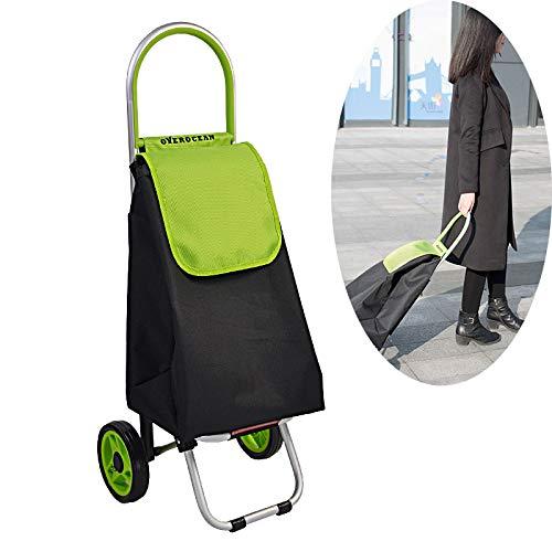 AIMCAE Faltbarer Einkaufswagen Praktischer Einkaufswagen Wagenrad und abnehmbare Planentasche, große Kapazität für einfache Aufbewahrung grün